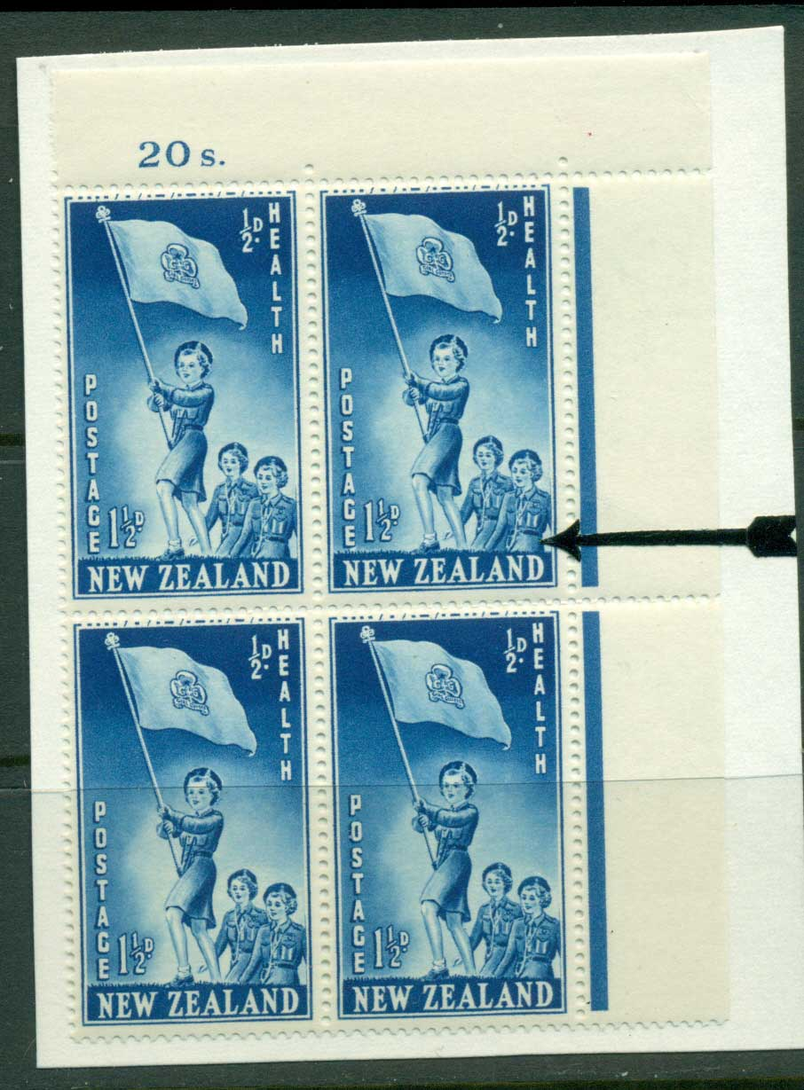 New Zealand 1953 Health 1�d Guides Sheet value Block 4 Flaw above N MH/MUH Lot25874