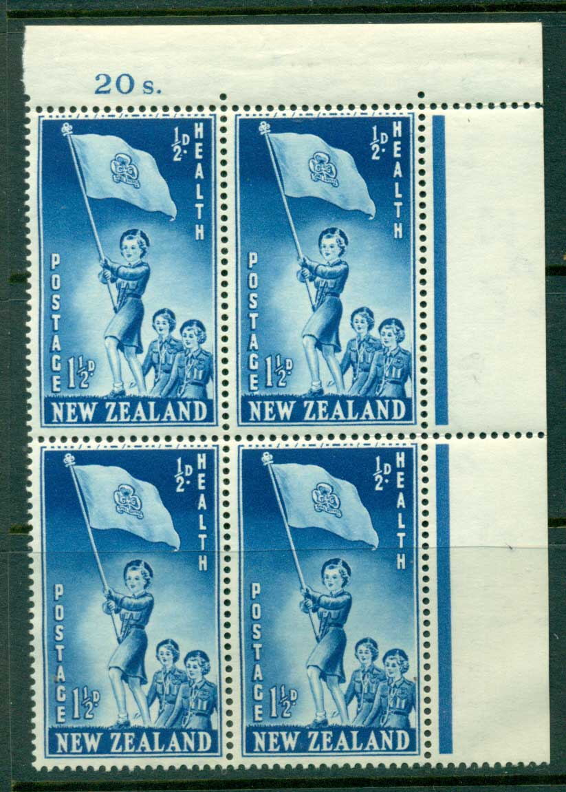 New Zealand 1953 Health 1�d Guides Sheet value Block 4 MH/MUH Lot25875