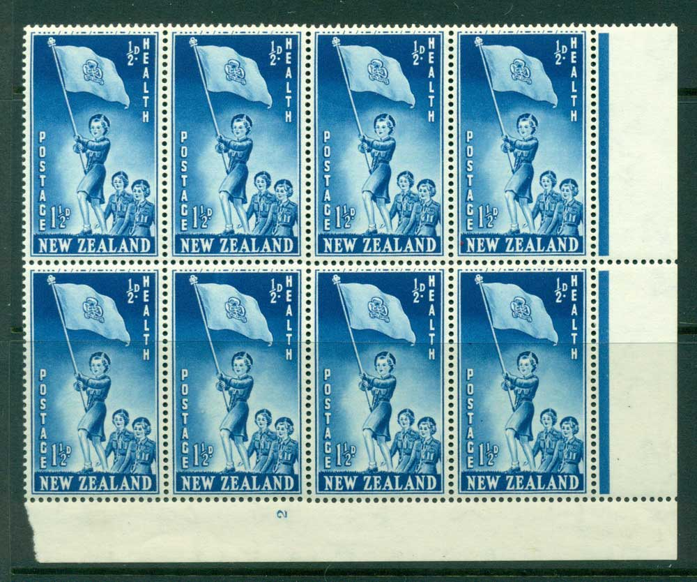 New Zealand 1953 Health 1�d Guides Plate 2 Block 8 MH/MUH Lot25877