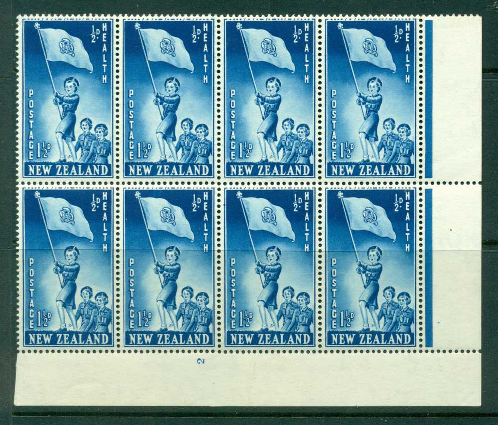 New Zealand 1953 Health 1�d Guides Plate 2 Block 8 MH/MUH Lot25878