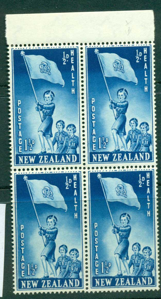 New Zealand 1953 Health 1�d Guides Leg Flaw R2/10 Block 4 MH/MUH Lot25880