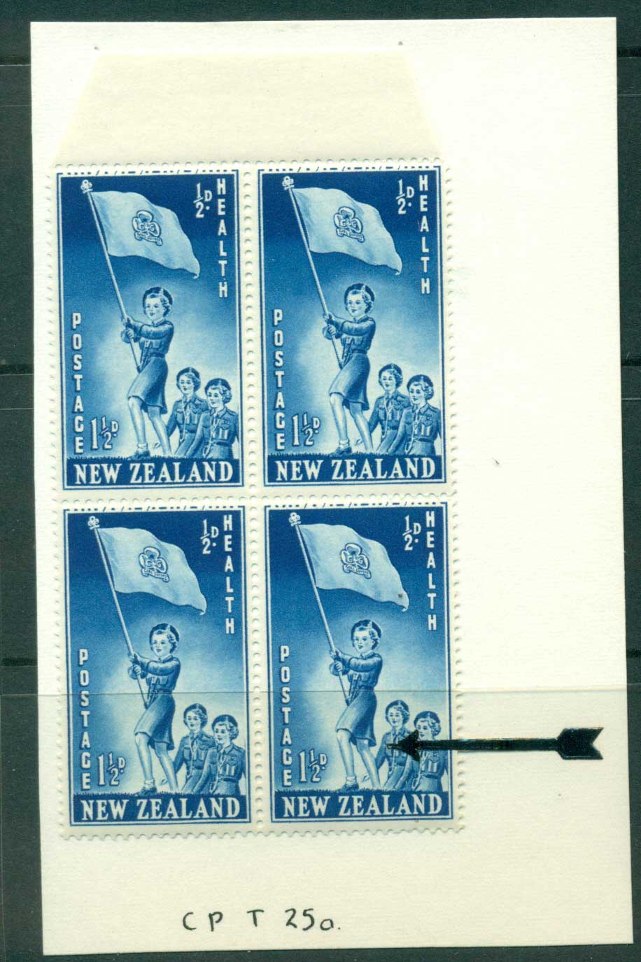 New Zealand 1953 Health 1�d Guides Leg Flaw R2/10 Block 4 MH/MUH Lot25881