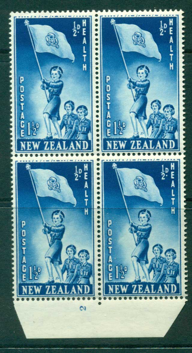 New Zealand 1953 Health 1�d Guides Plate 2 Block 4 MH/MUH Lot25883