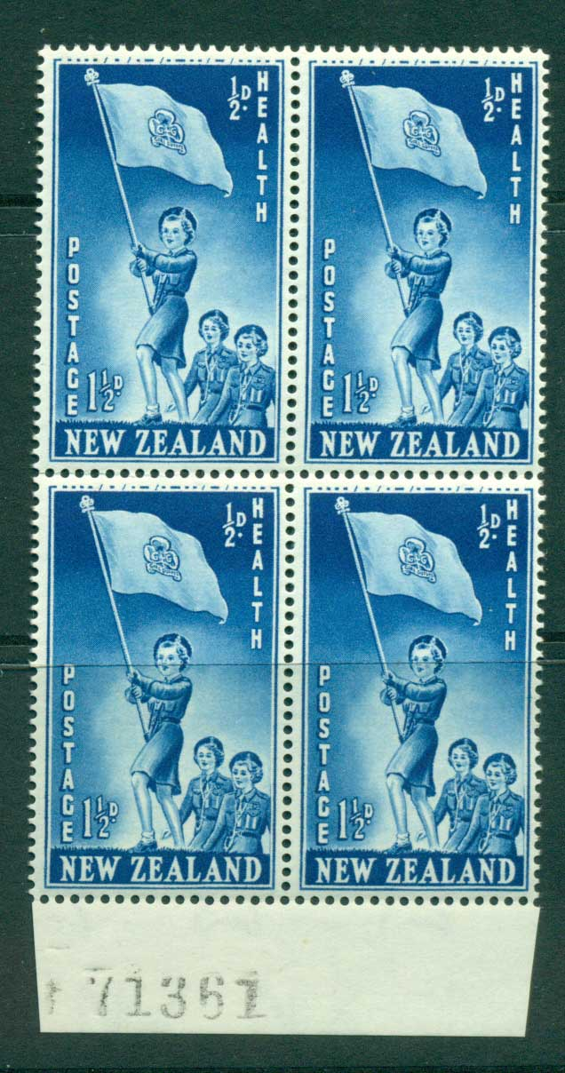 New Zealand 1953 Health 1�d Guides Sheet Number Block 4 MH/MUH Lot25884