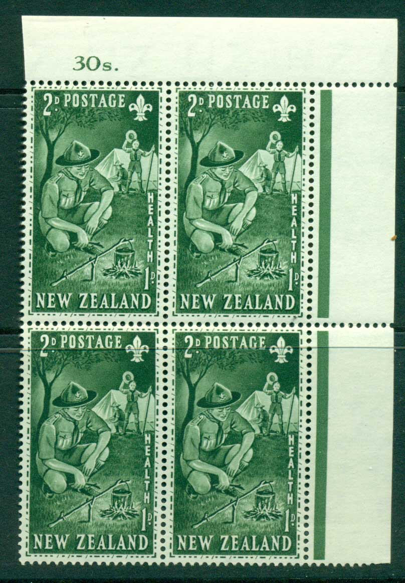 New Zealand 1953 Health 2d Scouts Sheet Value Block 4 MH/MUH Lot25886