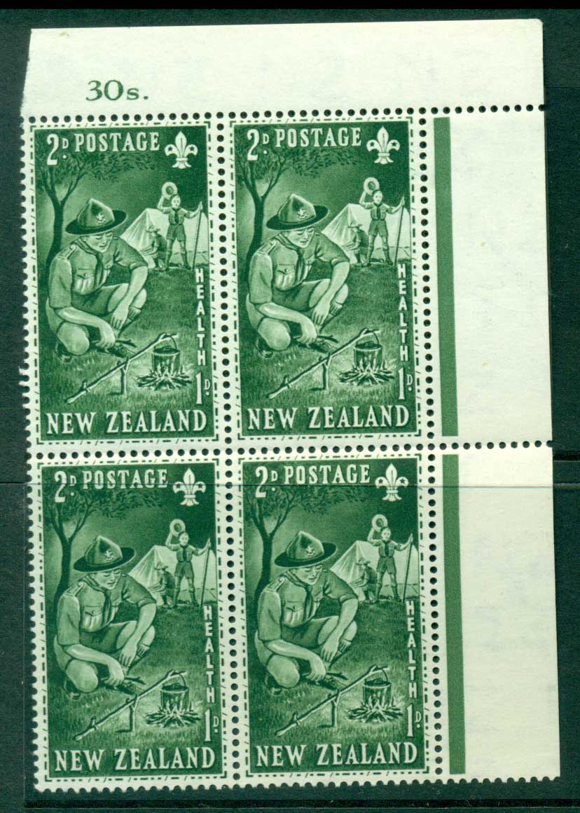 New Zealand 1953 Health 2d Scouts Sheet Value Block 4 MH/MUH Lot25887