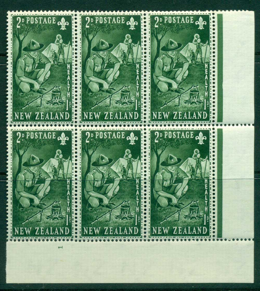 New Zealand 1953 Health 2d Scouts Plate #1 Block 6 MH/MUH Lot25888