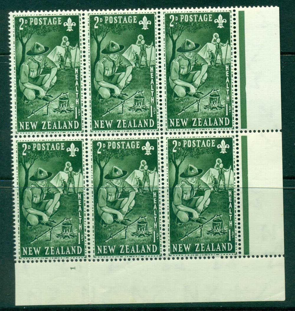 New Zealand 1953 Health 2d Scouts Plate #1 Block 6 MH/MUH Lot25889