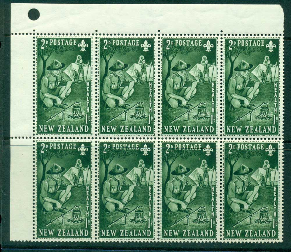 New Zealand 1953 Health 2d Scouts Corner Punch Hole Block 8 MH/MUH Lot25892