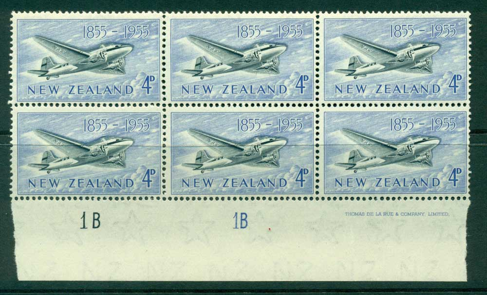 New Zealand 1955 4d Douglas DC-3 Plane 1B 1B Imprint & Plate Block 6 MUH Lot25901