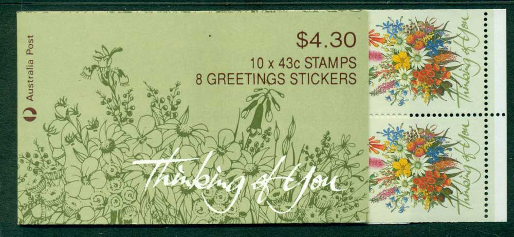 Australia 1990 $4.30 Thinking of You B164A 1K Booklet Lot26006