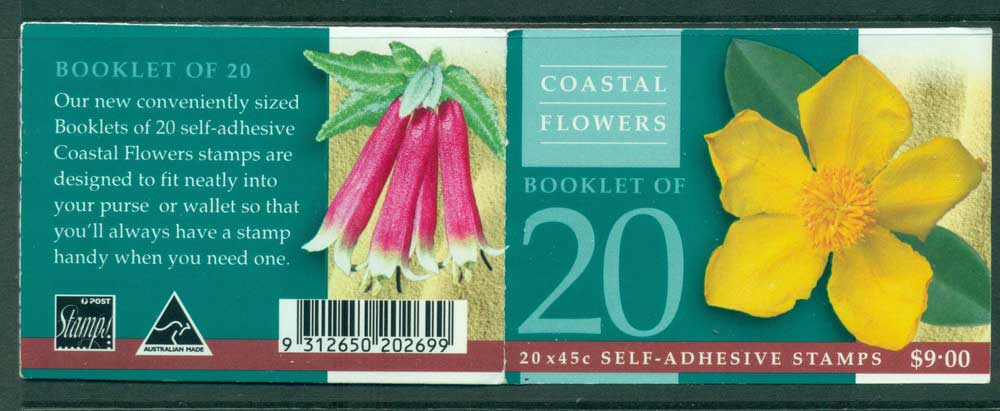 Australia 1999 $9.00 Coastal Wildflowers B222a General Booklet Lot26064