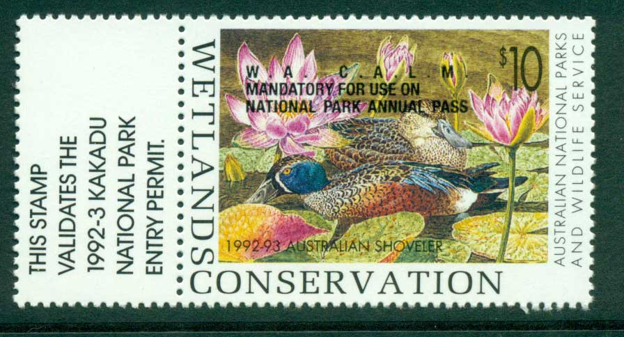 Australia 1992-3 National Parks & Wildlife Services Duck Stamp Overprint Gutter Single MUH Lot26247