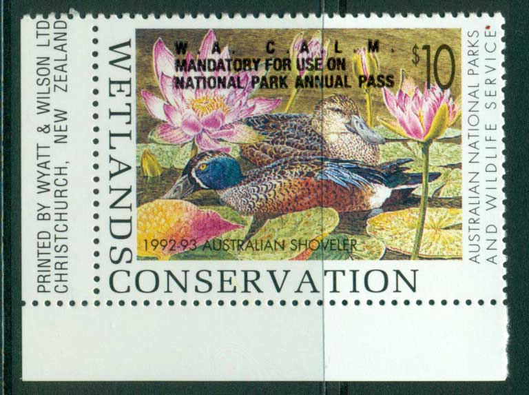 Australia 1992-3 National Parks & Wildlife Services Duck Stamp Overprint Imprint Single MUH Lot26249