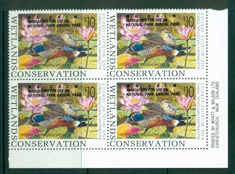 Australia 1992-3 National Parks & Wildlife Services Duck Stamp Overprint Imprint Block 4 MUH Lot26251
