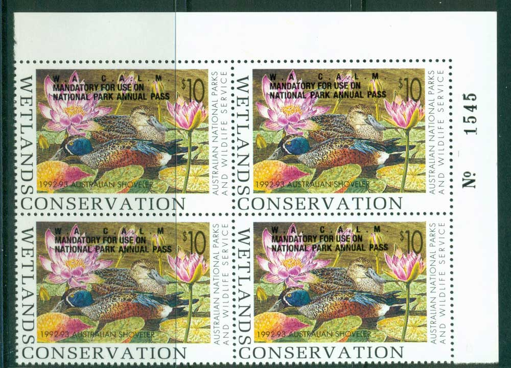 Australia 1992-3 National Parks & Wildlife Services Duck Stamp Overprint Sheet Number Block 4 MUH Lot26252