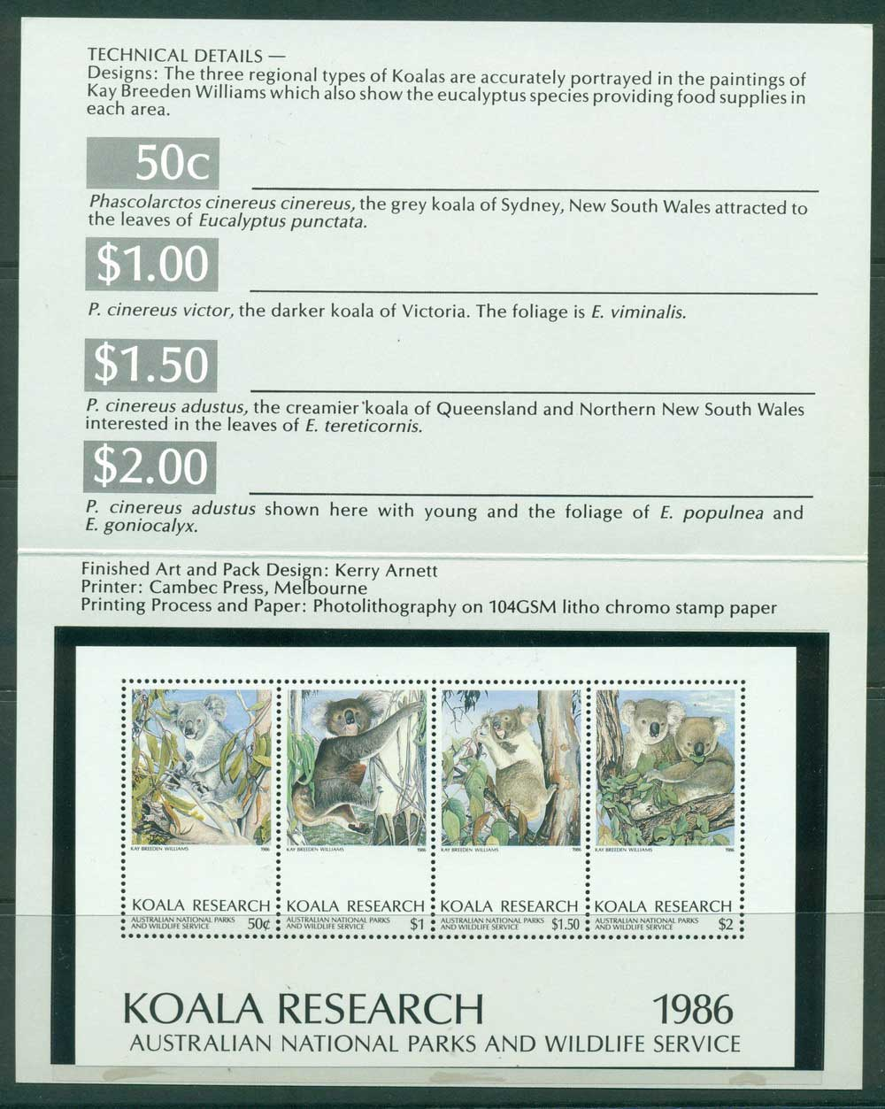 Australia 1986 Koala Research $5 MS in Presentation pack MUH Lot26294