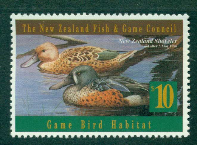 New Zealand 1996 $10 Game Bird Habitat Duck Stamp MUH Lot26295