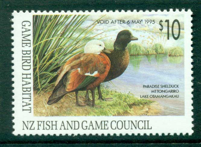 New Zealand 1993 $10 Game Bird Habitat Duck Stamp MUH Lot26304