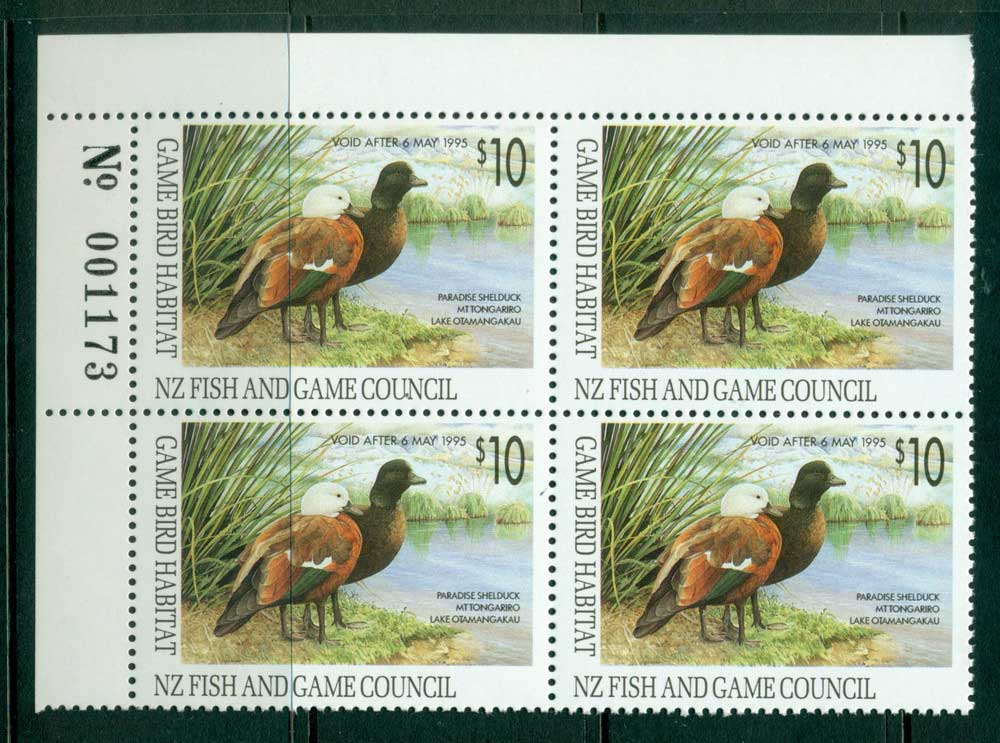 New Zealand 1993 $10 Game Bird Habitat Duck Stamp Sheet Number Block 4 MUH Lot26308