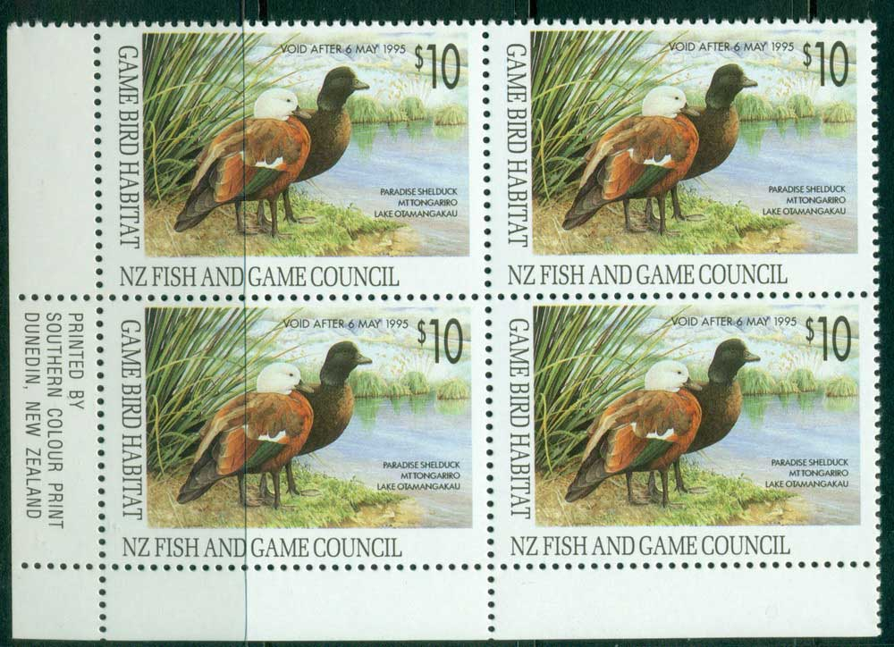 New Zealand 1993 $10 Game Bird Habitat Duck Stamp Imprint Block 4 MUH Lot26309