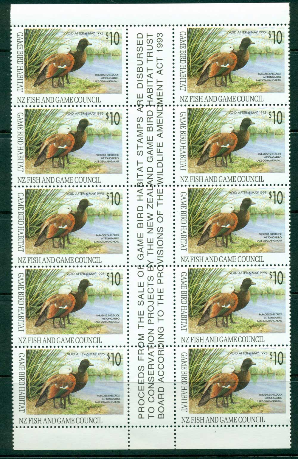 New Zealand 1993 $10 Game Bird Habitat Duck Stamp Gutter Block 10 MUH Lot26310