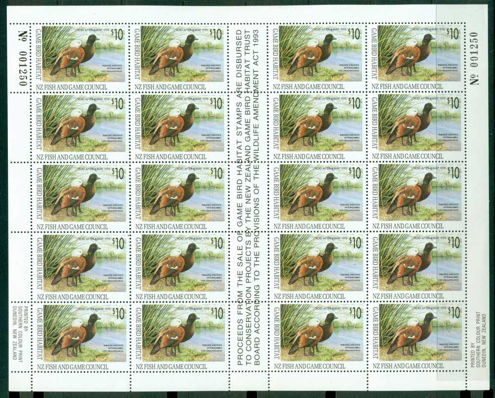 New Zealand 1993 $10 Game Bird Habitat Duck Stamp Sheet 20 MUH Lot26312