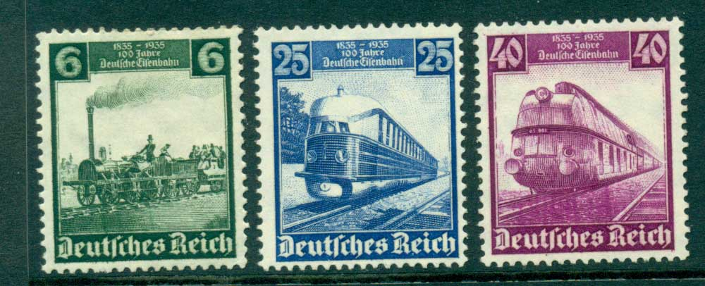 Germany Reich 1935 Railroad Centenary 6,25,40pf MNG Lot26598