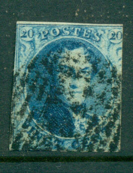 Belgium 1851 20c blue King Leopold I Wmk Unframed L's4 , 2 margin FU Lot27115