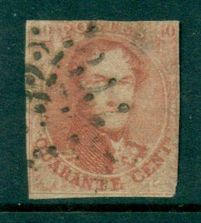 Belgium 1851 40c carmine rose King Leopold I Wmk Unframed L's , 1 margin, cut close FU Lot27116