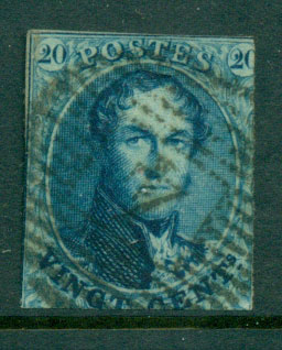 Belgium 1861 20c blue King Leopold I No Wmk , cut close FU Lot27118