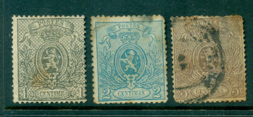 Belgium 1866-7 1c-5c Coat of Arms Perf, faults FU Lot27121
