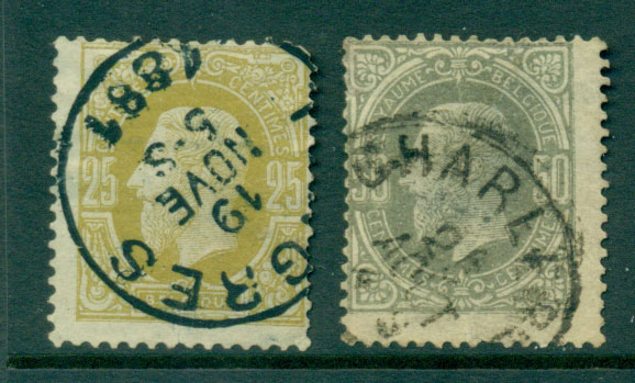 Belgium 1875-8 25c, 50c, faults FU Lot27123