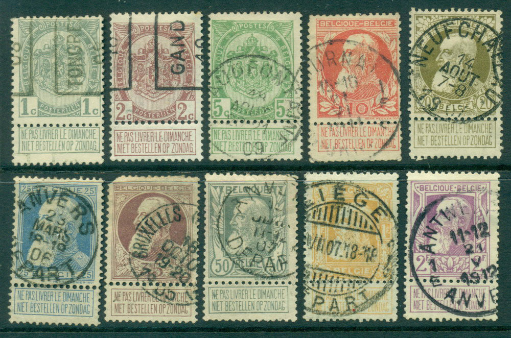 Belgium 1905-11 w/- tabs 1c-2F, faults FU Lot27132