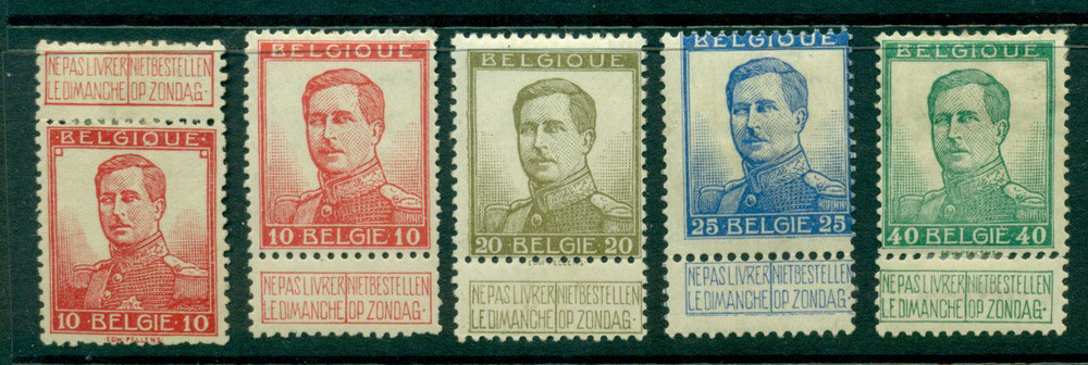Belgium 1912-13 King Albert 1 Larger head Asst MH Lot27134