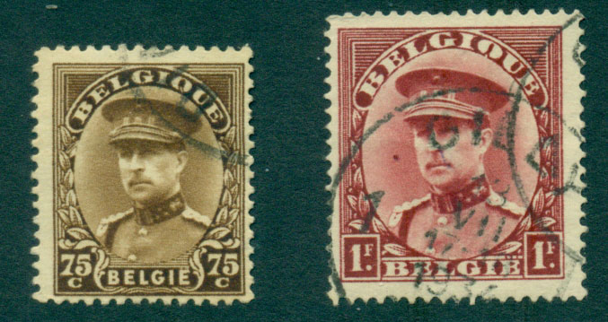 Belgium 1931-2 King Albert 75c, 1F FU Lot27151