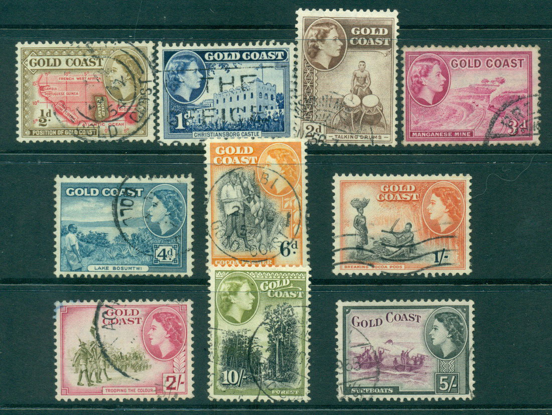 Gold Coast 1952-4 QEII Defins Asst to 10/- FU (10) Lot27544