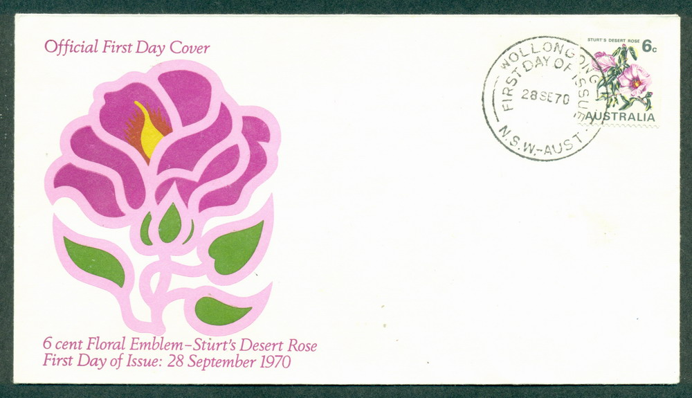 Australia 1970 Floral Coil 6c Wollongong FDC Lot27732