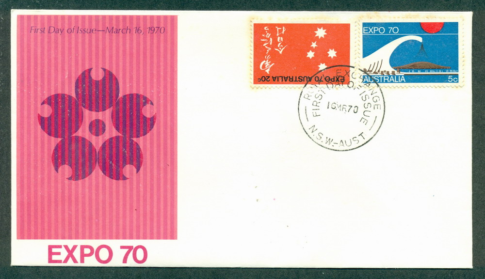Australia 1970 Expo Unaddressed Royal Exchange (lt tones) 20c stamp inverted FDC Lot27740