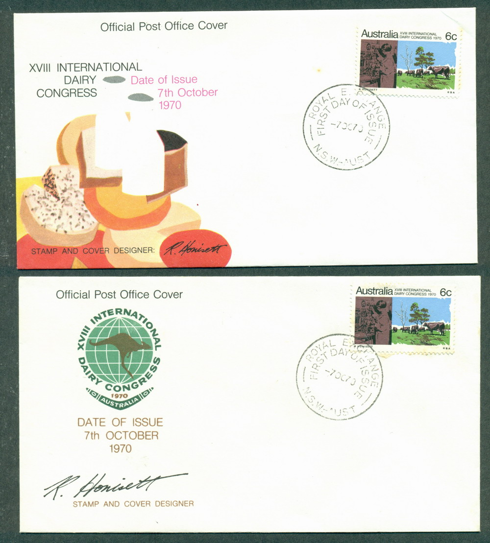 Australia 1970 Dairy Congress (tones) 2 FDC Lot27757