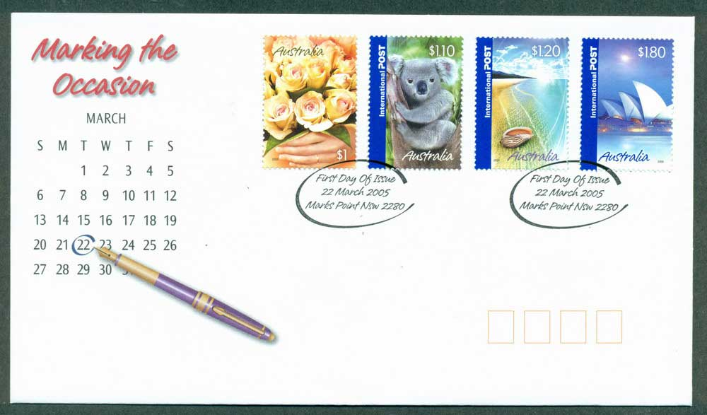Australia 2005 Internationals Marking the Occasion $1,$1.10, $1.20, $1.80 FDC Lot28045
