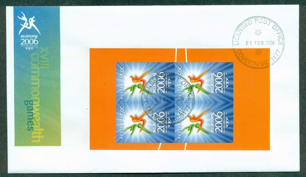 Australia 2006 Commonwealth Games prestige Pane Blk 4 Imperf FDC Lot28053