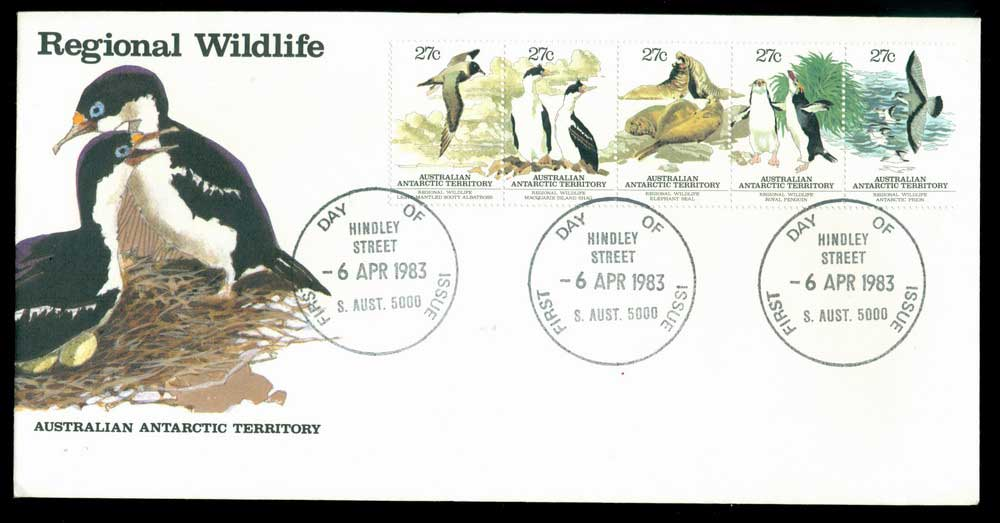 AAT 1983 Regional Wildlife Str 5, Hindley St FDC Lot28086