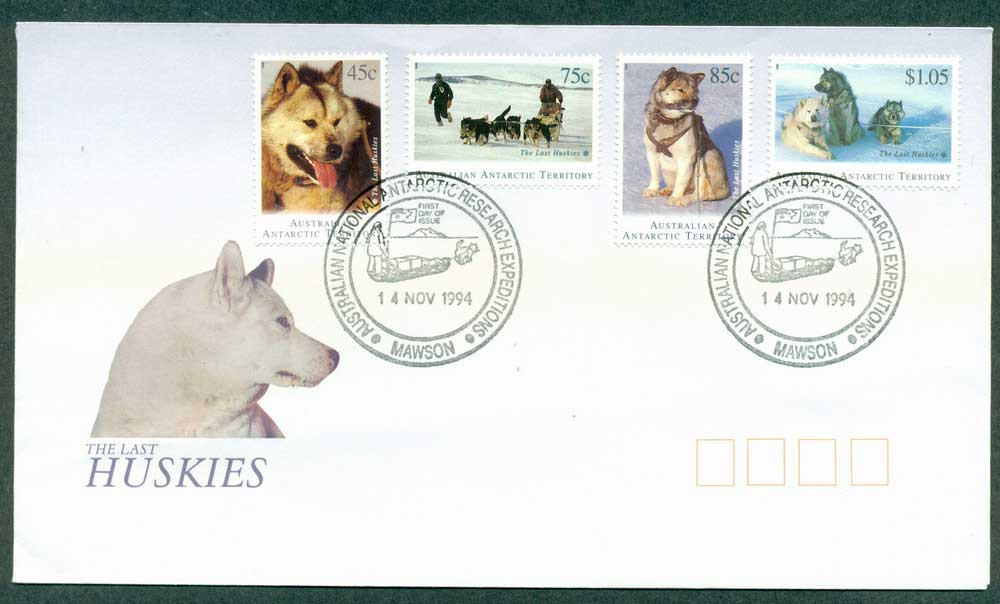 AAT 1994 Huskies, Mawson FDC Lot28097