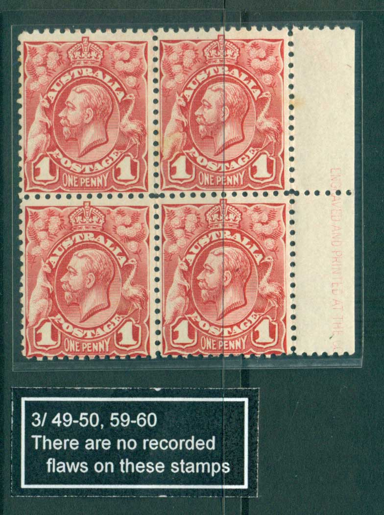 Australia 1913 1d Red Engraved Pl.3 Part Imprint RH blk 4, gum spots, MUH Lot28123