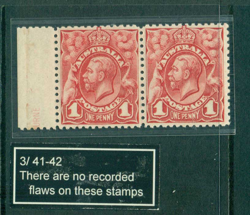 Australia 1913 1d Red Engraved Pl.3 part imprint pair, light gum tones, MUH Lot28137