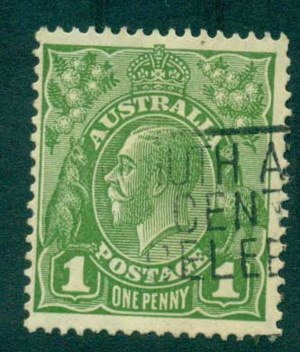 Australia KGV Head 1d Green C of A Wmk FU Lot28164