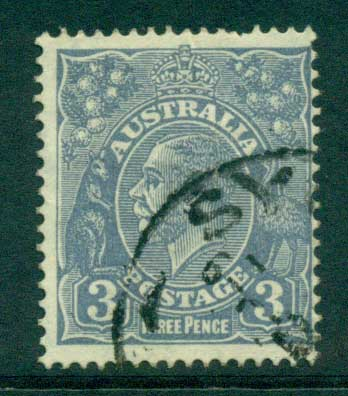 Australia KGV Head 3d Blue C of A Wmk FU Lot28174