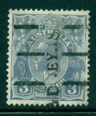 Australia KGV Head 3d Blue C of A Wmk FU Lot28177