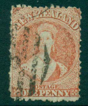 New Zealand 1864-67 Chalon 1d Vermillion Wmk lge. Star perf 12.5 Auckland FU Lot28406